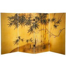 "36"" x 50.4"" Bamboo Tree Double Sided Tree 4 Panel Room Divider"