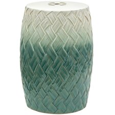 Carved Woven Design Porcelain Garden Stool