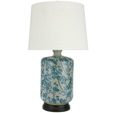 """Cherry Blossom Porcelain 25"""" H Table Lamp with Empire Shade"""