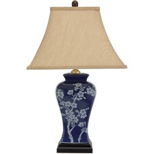 "Cherry Blossoms Porcelain Jar 23"" H Table Lamp with Sqaure Shade"