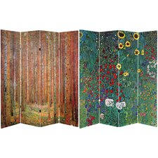 "71"" x 63"" Tall Tannenwald / Farm Garden 4 Panel Room Divider"