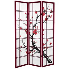 "71"" x 47.25"" Tall Blossom 3 Panel Room Divider"