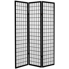 "71"" x 47.25"" Window Pane 3 Panel Room Divider"