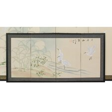 "18"" x 36"" Cranes in Full Moon 4 Panel Room Divider"