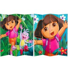 "71"" x 63"" Tall Double Sided Dora the Explorer 4 Panel Room Divider"