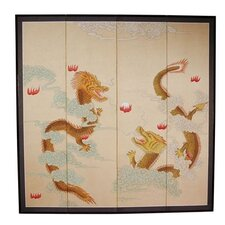 "72"" x 72"" Dragons Playing 4 Panel Room Divider"