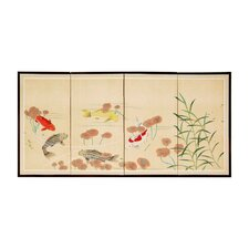 "48"" The Five Fish 4 Panel Room Divider"