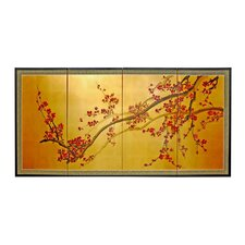 "24"" Plum Tree on Gold Leaf 4 Panel Room Divider"
