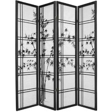 "72"" x 56"" Bamboo Tree Double Cross Shoji 4 Panel Room Divider"