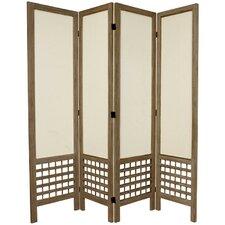"67"" Tall Open Lattice Fabric 4 Panel Room Divider"