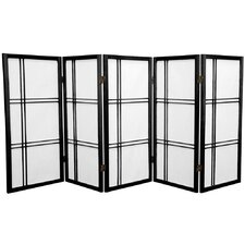 "35.75"" Double Cross Shoji Screen 5 Panel Room Divider"