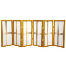 "26"" Desktop Double Cross Shoji Screen 6 Panel Room Divider"