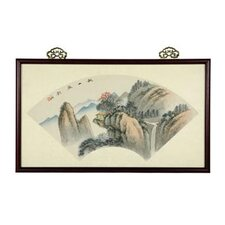 Oriental Mountain Retreat Watercolor Framed Original Painting