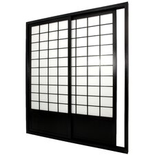 Double Sided Sliding Door Room Divider in Black