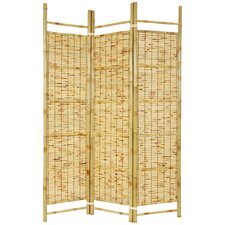 "72"" x 51"" Bamboo Tree Burnt Shoji 3 Panel Room Divider"