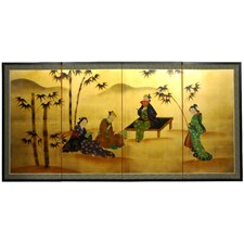 Ladies and Bamboo 4 Panel Room Divider