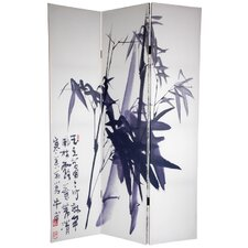 "<strong>Oriental Furniture</strong> 72"" x 64"" Bamboo Tree Double Sided Calligraphy 3 Panel Room Divider"