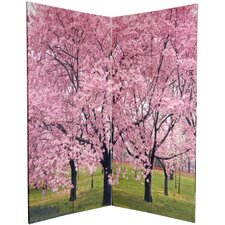 "72"" x 48"" Double Sided Cherry Blossoms 4 Panel Room Divider"