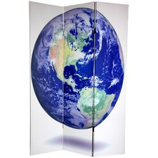 "72"" x 48"" Double Sided Earth 3 Panel Room Divider"