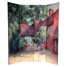 "<strong>Oriental Furniture</strong> 72"" x 48"" Double Sided Farm Life 4 Panel Room Divider"