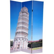 """72"""" x 48"""" Double Sided Pisa and St.Peter Feets 3 Panel Room Divider"""
