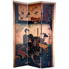 "<strong>Oriental Furniture</strong> 72"" x 48"" Japanese Double Sided Figures 3 Panel Room Divider"