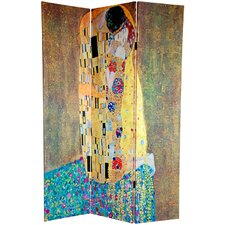 "72"" Double Sided Works of Klimt 3 Panel Room Divider"