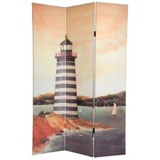 "<strong>Oriental Furniture</strong> 72"" x 48"" Double Sided Lighthouses 3 Panel Room Divider"