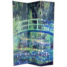 "72"" x 48"" Double Sided Works of Monet 3 Panel Room Divider"