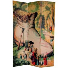"72"" x 48"" Double Sided Lady Who Lived in A Shoe 3 Panel Room Divider"