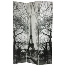 "72"" x 48"" Double Sided Paris 3 Panel Room Divider"