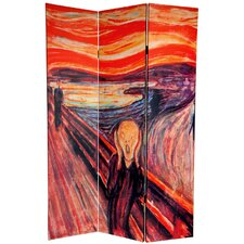 """72"""" x 48"""" Double Sided The Scream 3 Panel Room Divider"""
