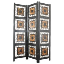 "<strong>Oriental Furniture</strong> 71"" x 52.5"" Coco Leaf 3 Panel Room Divider"