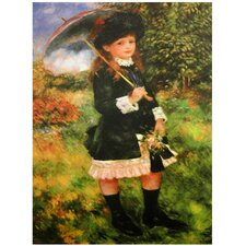 'Young Girl with Parasol' by Renoir Painting Print on Canvas