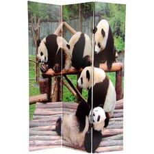 "71"" x 47.63"" Panda Bears 3 Panel Room Divider"