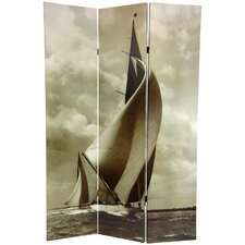 "<strong>Oriental Furniture</strong> 71"" x 47.63"" Sailboat 3 Panel Room Divider"