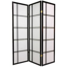 "<strong>Oriental Furniture</strong> 60"" x 42"" Double Cross Shoji Screen 3 Panel Room Divider"