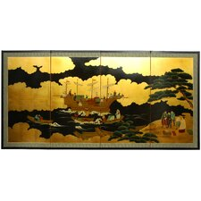 "36"" Dragon Boat on Gold Leaf Silk Screen with Bracket"