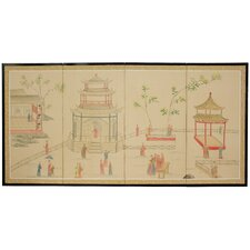 <strong>Oriental Furniture</strong> Enter The Pagoda 4 Panel Room Divider