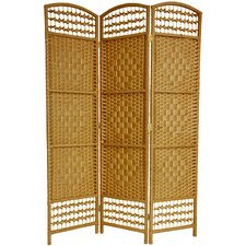 "67"" x 38"" Tall Fiber Weave 3 Panel Room Divider"