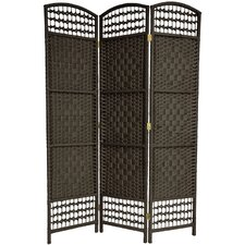 "<strong>Oriental Furniture</strong> 67"" x 38"" Tall Fiber Weave 3 Panel Room Divider"