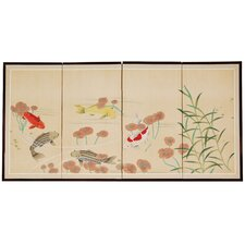 "24"" x 48"" The 5 Fish Chinese Painting 4 Panel Room Divider"