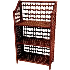"<strong>Oriental Furniture</strong> 33"" Natural Fiber Shelving Unit in Mahogany"