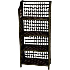 "43"" Natural Fiber Shelving Unit in Black"