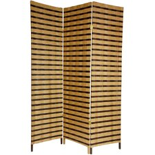 6 Feet Tall Two Tone Natural Fiber Room Divider