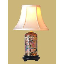 """Rose Medallion Pencil 15"""" H Table Lamp with Bell Shade"""
