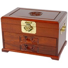 <strong>Oriental Furniture</strong> Oriental Jewelry Box with Two Drawers in Honey