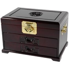 <strong>Oriental Furniture</strong> Oriental Jewelry Box with Two Drawers in Dark Rosewood