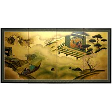 "36"" Gold Leaf River View Silk Screen with Bracket"