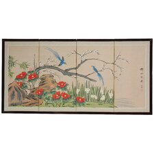 "24"" x 48"" Birds and Flowers 4 Panel Room Divider"
